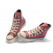 Converse All Star Pas Cher Usa Drapeau Rouge Gris Avec La Langue Rose