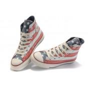 Converse All Star Pas Cher Usa Flag Blanc Rouge Avec La Langue Grise