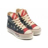 Converse All Star Pas Cher Usa Flag Chiffon Bleu Langue Rouge