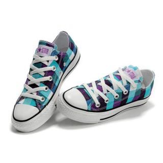 Converse All Star Soldes Plaid Bleu Jaune Violet
