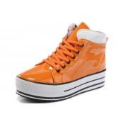 Converse All Star Soldes Plateforme Cuir Brillant D'orange