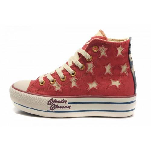 Converse All Star Soldes Plateforme Drapeau Rouge Usa
