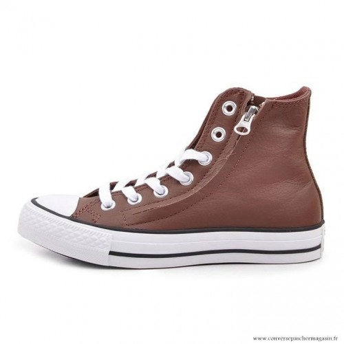 Blanche Star Chaussures All Zip Mid Converse Cuir Café 7gfYyb6