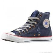 Converse Bleu Blanche All Star Haute Toile Chaussures Pour Homme