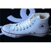 Converse Chuck Taylor All Star Avec Velours Haute Cuir Blanche