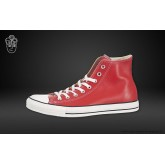 Converse Chuck Taylor All Star Haute Cuir Chaussures Rouge Blanche