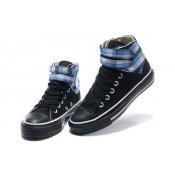 Converse Chuck Taylor All Star Noir Avec Deux Carreaux Bleu Velcro