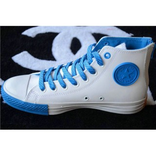 Converse Chuck Taylor All Star Zip Haute Cuir Blanche Bleu Royal
