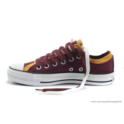 b7a85267409 Converse Double Upper Chuck Taylor All Star Basse Toile Bordeaux Jaune