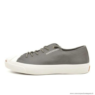 Converse Jack Purcell Basse Cuir Charcoal Grise Blanche