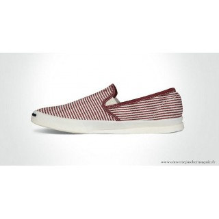 Converse Jack Purcell Basse Toile Chaussures Stripes Blanche Bordeaux