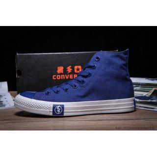 2016 Foudre Converse Noir Blanche Chuck Taylor All Star Haute Toile Chaussures Bleu Blanche