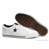 Converse One Star Noir Star Basse Cuir Chaussures Blanche Noir