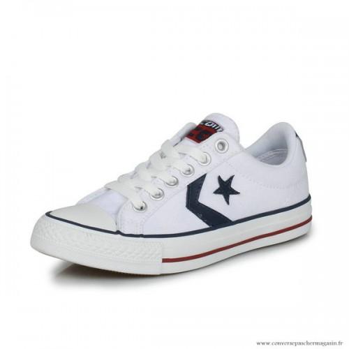 sports shoes 6a1d2 9d204 Femme Converse Star Player Ev Ox Converse Cons Toile Basse Blanche Bleu  Marine
