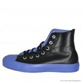 Femme Converse All Star Haute Cuir Noir Bleu