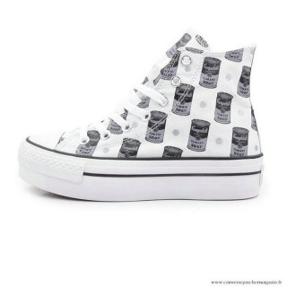 Femme Converse All Star Imprimer Haute Toile Chaussures Blanche