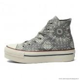 Femme Converse All Star Imprimer Haute Toile Chaussures Grise
