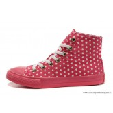 Femme Converse Double Upper Chuck Taylor All Star Haute Toile Blanche PunctiPourm Rose