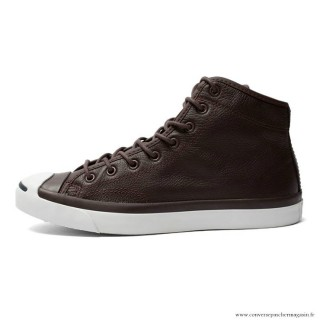 Homme Casual Chaussures Converse Jack Purcell Haute Cuir Sombre Marron