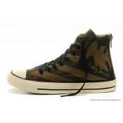 Homme Converse Chuck Taylor All Star Zip Haute Imprimer Eagle Stripes Marron