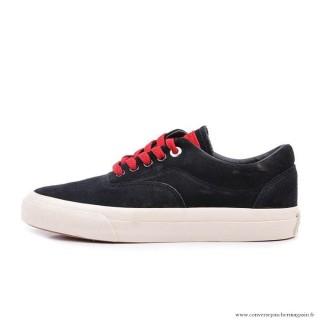 Homme Converse Cons Basse Suede Antiskid Chaussures Noir Rouge