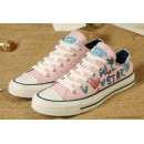 Lady Gaga Femme Girls Converse Chuck Taylor All Star Graffiti Imprime Rouge Basse Toile Rose