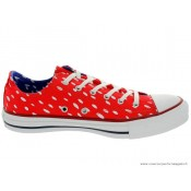 Marimekko Converse Femme Chuck Taylor All Star Basse Toile PunctiPourm Blanche Rouge