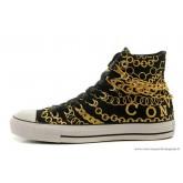 Nouveau Converse All Star Toile Chaussures Or Noir