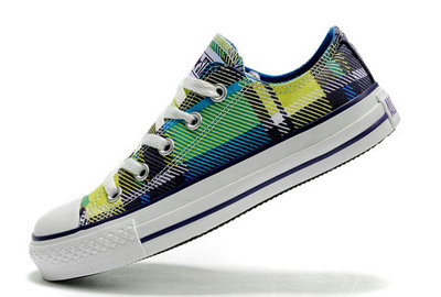 Converse All Star Soldes Purple Plaid Bleu Blanc -003