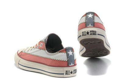 Converse All Star Pas Cher Usa Flag Whtie Rouge Avec La Langue Grise