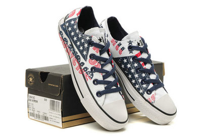 All Star Converse Bleu Drapeau Rouge Et Blanc Graffitis Lettres Usa -002