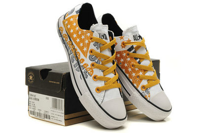 Converse All Star Soldes Orange, Drapeau Et Lettres Usa Graffitis Blanc