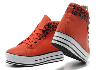 Converse All Star Soldes Plate-forme De Léopard Orange Cuir Rouge