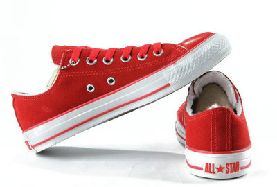 Converse All Star Pas Cher Shearling Cuir Daim Rouge -002