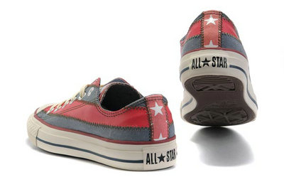 Converse All Star Pas Cher Usa Drapeau Rouge Gris Avec La Langue Rose -002