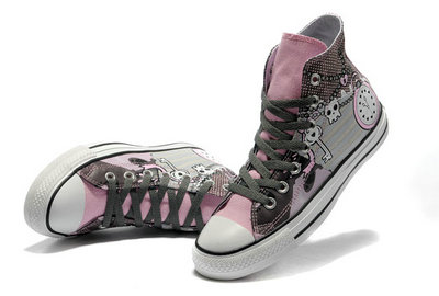 Chaussures Converse Pink Punk Impression Pirate Touches D'horloge Motif -001