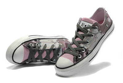 Chaussures Converse Pink Punk Impression Pirate Touches D'horloge Motif -002